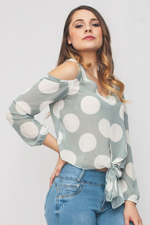 Polka Dot Print Cold Shoulder Knot Front Blouse | 2 Colors