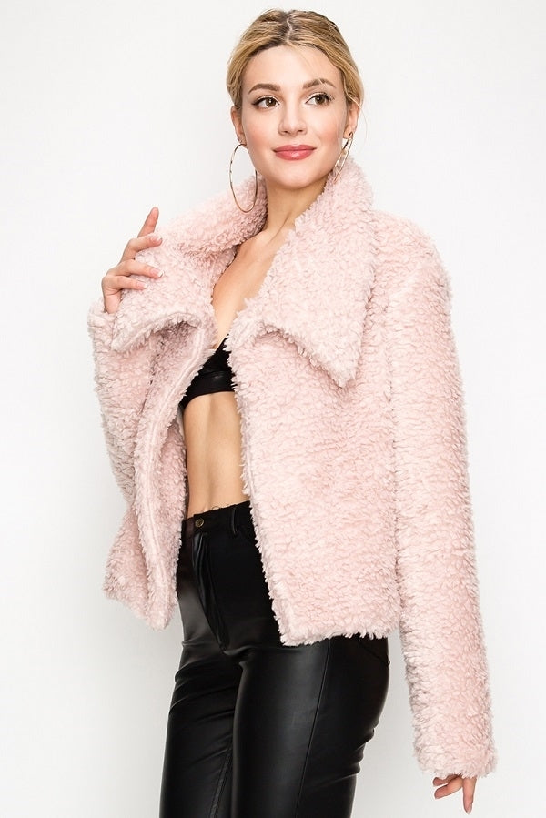 Shawl Collar Faux Fur Blazer Coat