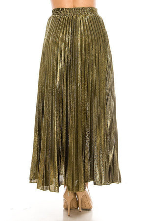 Metallic Pleated Elastic Maxi Skirt | 3 Colors Available