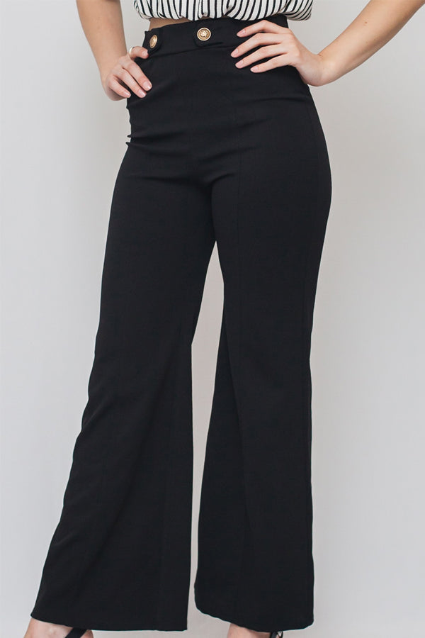 Button Detail Elastic Waist Bell Bottom Pants | 2 Colors
