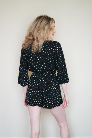 Abstract Print Crossover 3/4 Sleeve Romper | 2 Color
