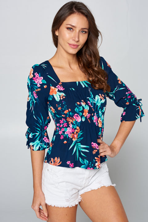 Rayon Challis Tropical Print Top
