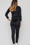 Velvet Texture Embellished Tracksuit Top and Bottom Set | 3 Colors Available