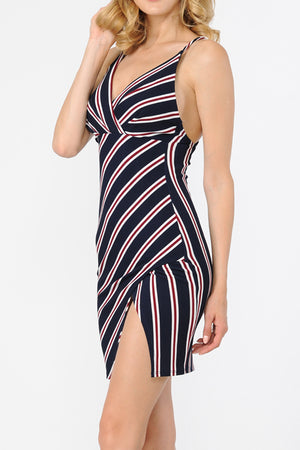 Striped Front Tie Strappy Back Split Hem Dress