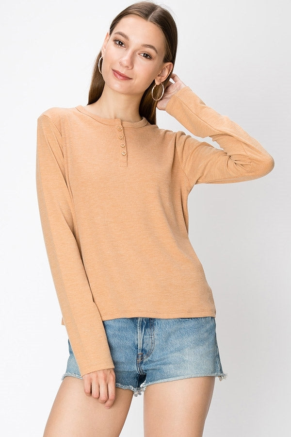 Crew Neck Long Sleeve Top w/ Button Front | 7 Colors Available