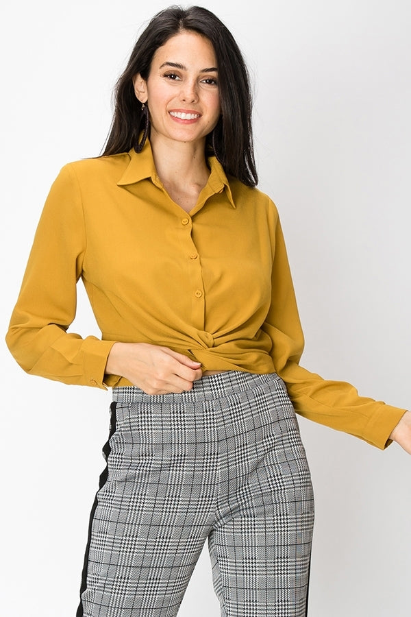 Button up Front Tie Blouse | 3 Colors Available