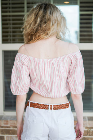 Striped Button Down OTS 2/4 Slv Crop Top | 2 Colors