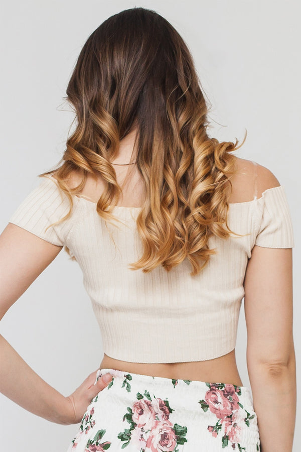 Off the Shoulder Rib Knit Crop Top | 3 Colors Available