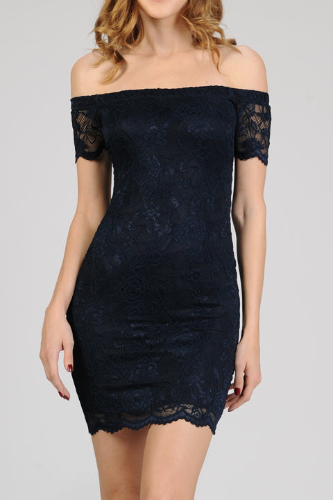Open Shoulder Floral Lace Bodycon Dress | 5 Colors
