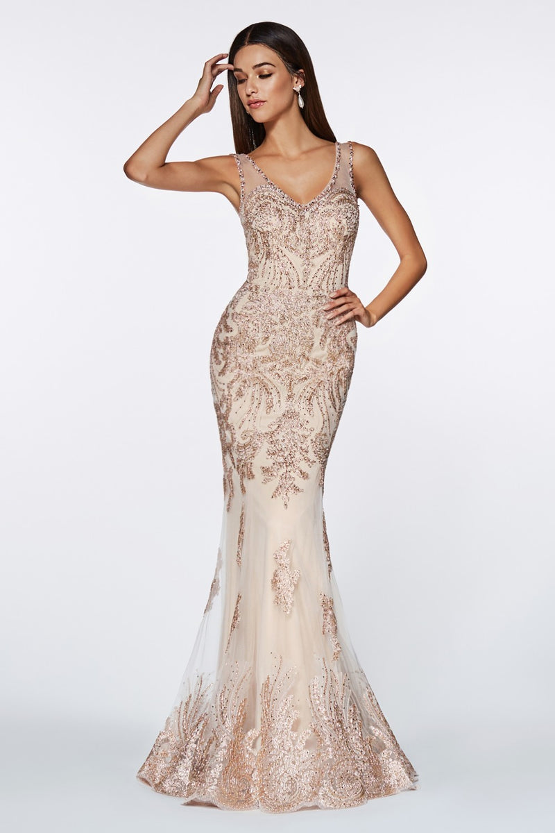 Fitted Embellished Lace Gown w/ Illusion Beaded Straps, V-Neckline and Open Back | 2 Colors