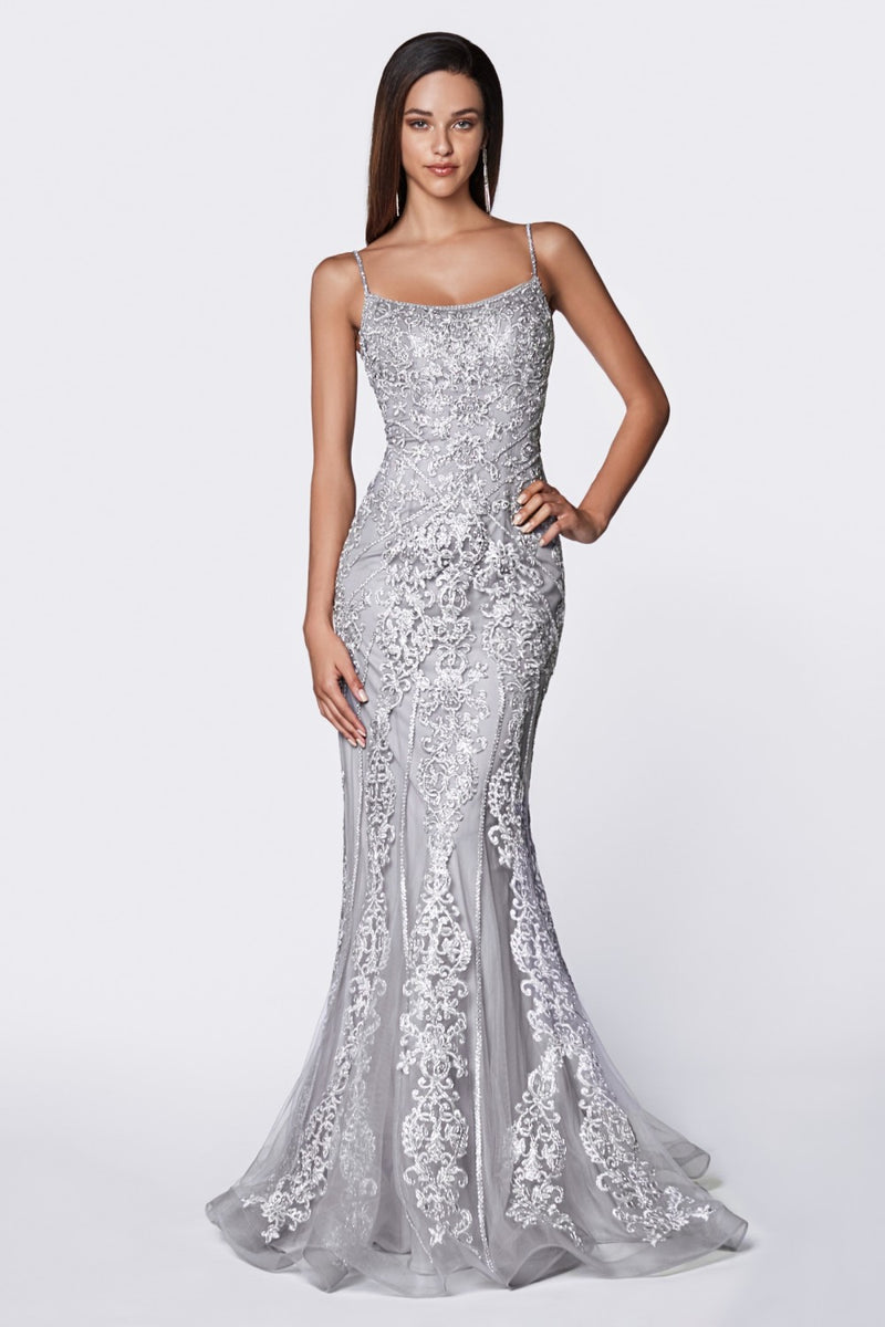 Fit and Flare Gown w/ Beaded Lace Detail and Straight Neckline | 3 Colors