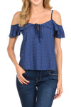 Cotton Embroidery Cold Shoulder Ruffled Top | 2 Colors Available