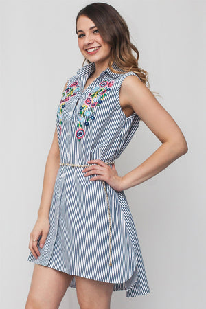 Floral Detail Striped Button Up Dress | 2 Colors Available
