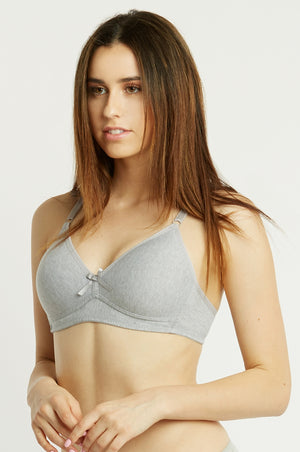 Solid Color Cotton Feel No-Wire Bra (3pcs/PACK)