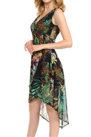 Tropical Floral Print High Low Mesh Dress
