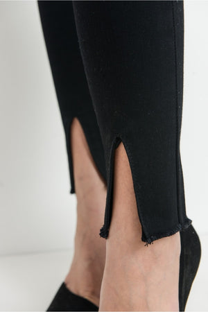 High Waist Black Ankle Skinny Jeans w/ Center Slit Hem