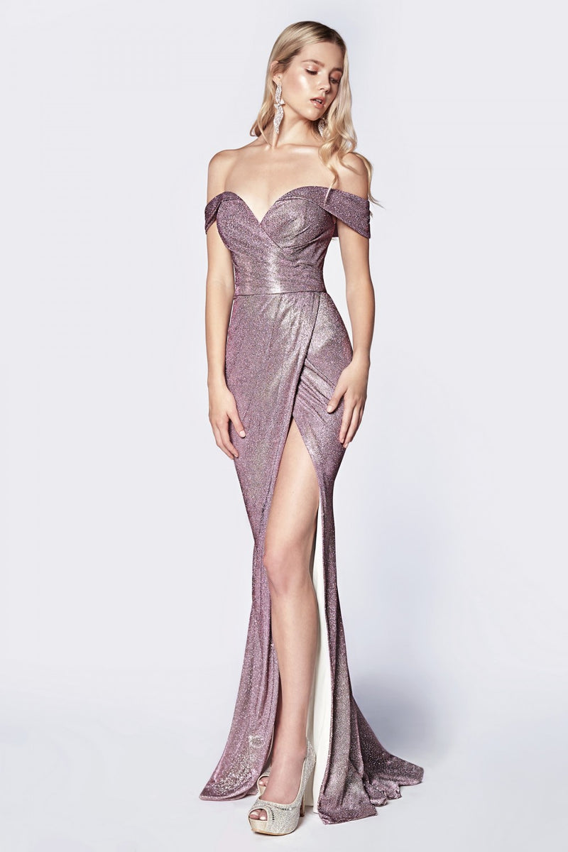 Off The Shoulder Metallic Gown w/ Sweetheart Neckline and Leg Slit
