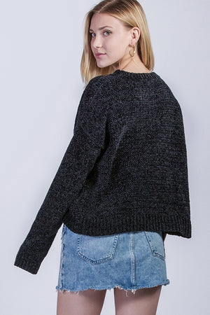 Round Neck Long Sleeve Chenille Sweater | 5 Colors Available