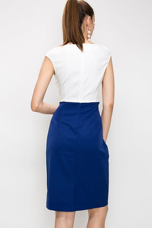 Contrast Dress w/ Crossover Top & Pencil Skirt