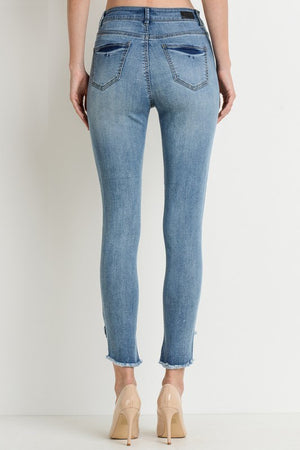 Mide-Rise Layered Hem Ankle Skinny Jeans
