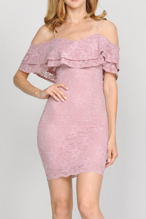 Ruffled Lace Bodycon Cami Dress | 4 Colors Available