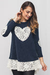 Long Sleeve Top w/ Laced Heart