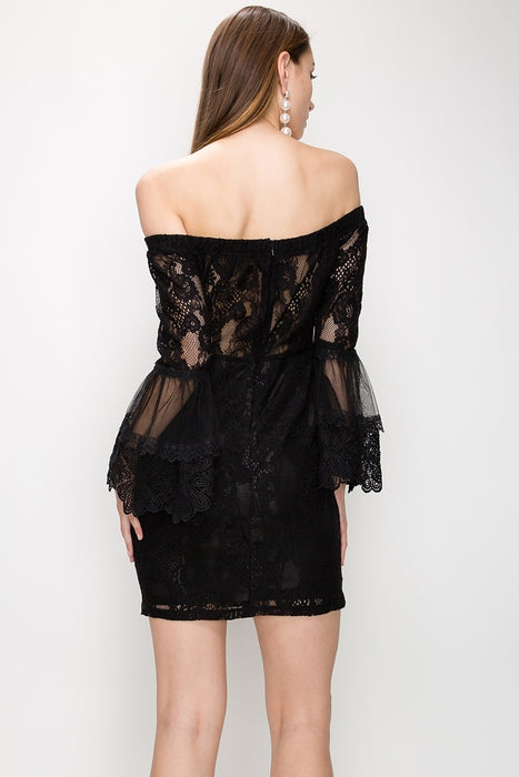 BELL SLEEVE OFF SHOULDER BODYCON LACE DRESS