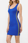 Scoop Neck Side Rainbow Striped Bodycon Dress | 4 Colors Available