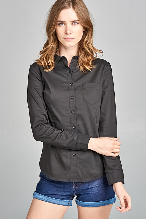 Button Down Stretch Yarn Dye L/S Collar Top | 3 Colors Available