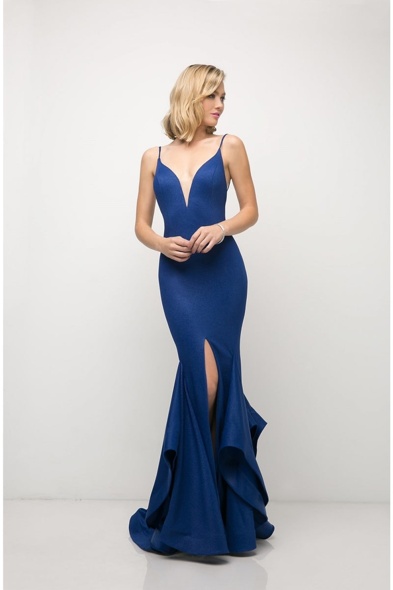 Fitted Deep V-Neckline Stretch Knit Gown w/ Layered Mermaid Skirt and Criss Cross Open Back | 3 Colors
