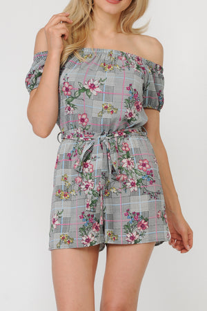 Bardot Floral Check Print Tie-Waist Romper | 2 Colors Available