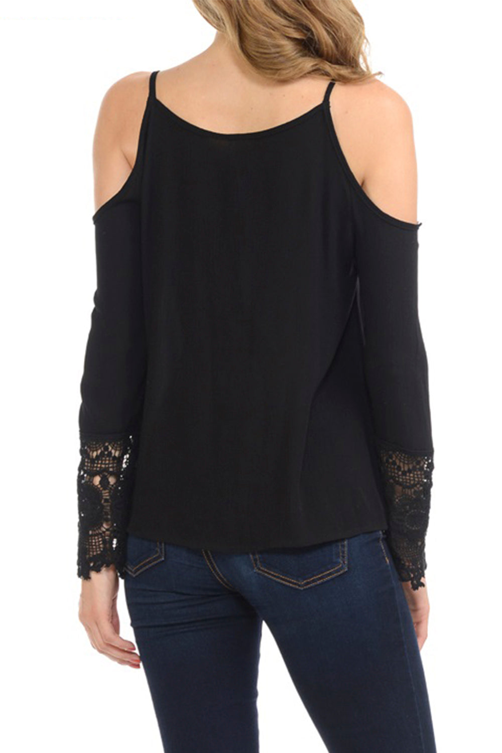 Cold Shoulder Criss Cross Detail Lace Sleeve Top | 2 Colors Available