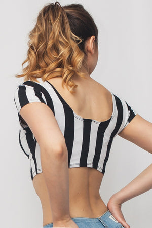 Round Neck Striped Crop Top