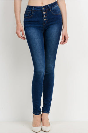 Mid Rise Button Down Dark Denim Skinny Jeans