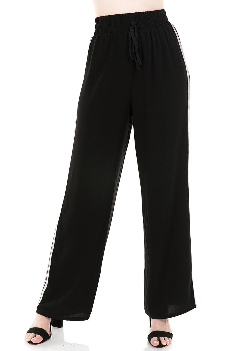 Wide Leg Pants w/ Side Panel Contrast