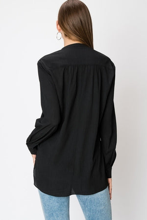 Long Sleeve Crossover Blouse | 5 Colors Available