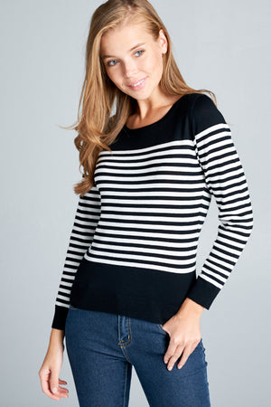 Round Neck Sweater Stripe Top | 4 Colors Available