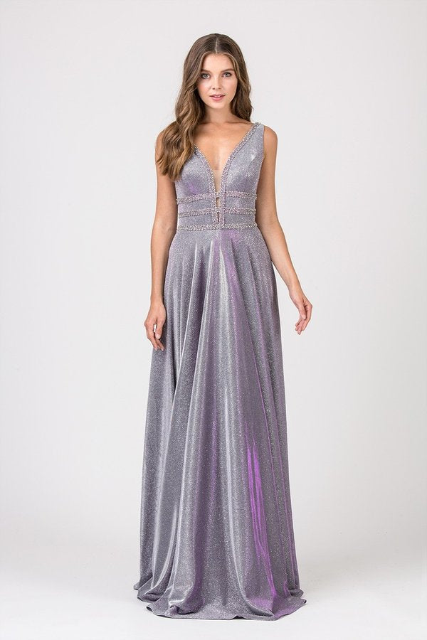 Shimmer Fabric Sweeping Floor Length Gown w/ Mesh Lined V-Neck | 2 Colors