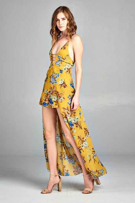 Criss Cross Self Tie Back Floral Maxi Skort Romper | 2 Colors Available