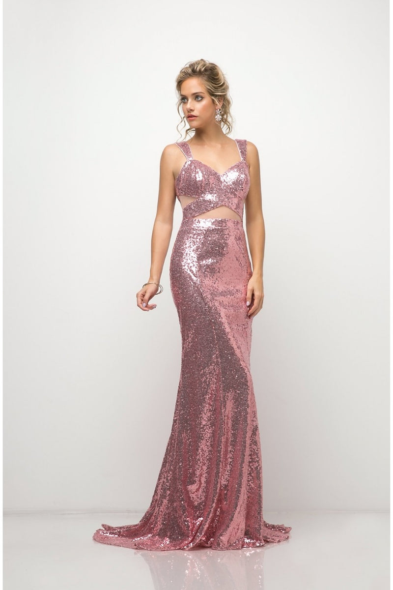 Fitted Sequin Gown w/ Illusion Cut Outs and Open Back
