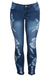 Medium Wash Floral Print Ripped Skinny Jean
