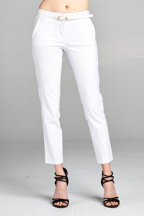 Belted Straight Leg Trousers | 4 Colors