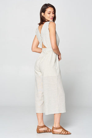 Sleeveless Stripe Jumpsuit | 2 Color