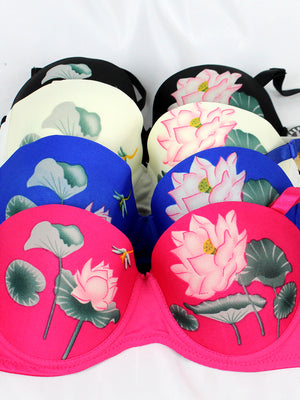 Lotus Print Push-Up Bra (3pcs/PACK)