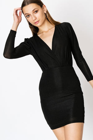 Long Sleeve Glitter Bodycon Dress w/ Surplice Top | 3 Colors Available