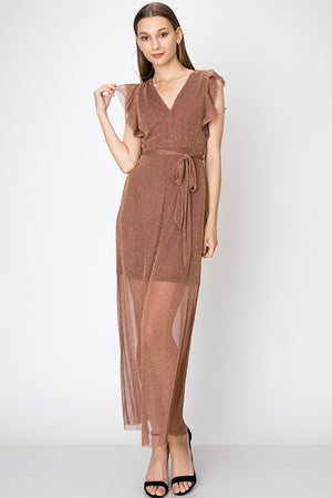 Sleeveless Ruffle Side Glitter Maxi Dress | 3 Colors Available