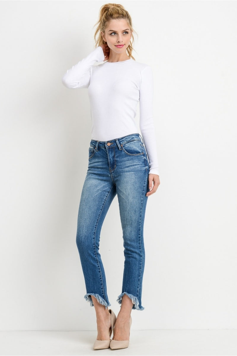 Mid rise ankle straight jeans with frayed peacock hem