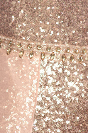 Sleeveless Sequin Evening Gown in Relaxed Style w/ Details