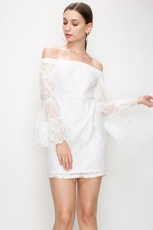 Lace Bell Sleeve Off Shoulder Bodycon Lace Dress | 2 Colors Available