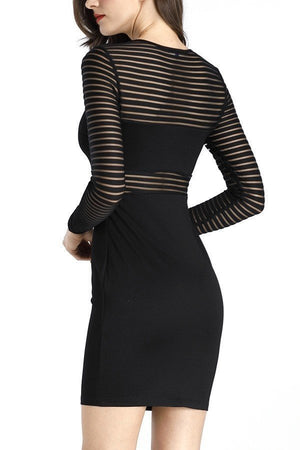 Solid Bodycon Mini Dress w/ Mesh Detail | 3 Colors Available